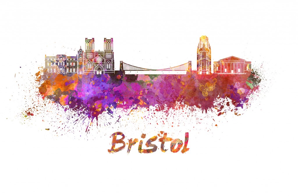 Bristol skyline in watercolor splatters with clipping path
